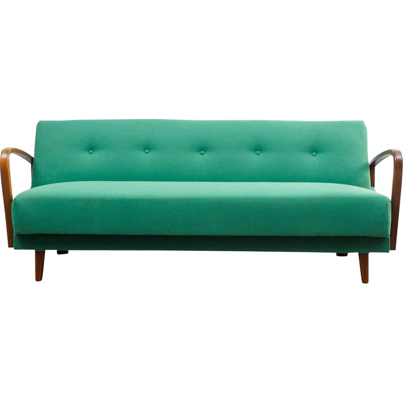 Vintage sofa green in beech 1950s