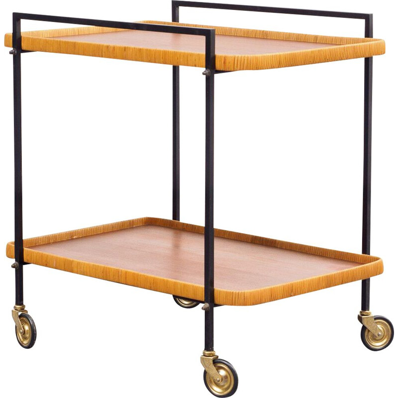 Vintage serving trolley metal and bast 1960s