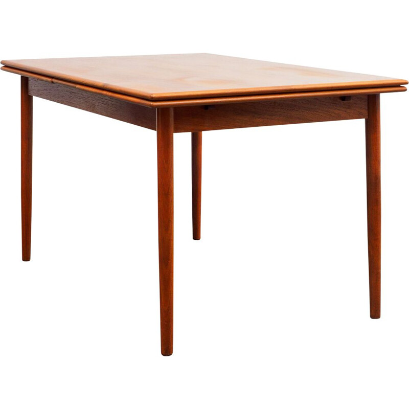 Vintage dining table in teak with rounded edges extendable 1960s