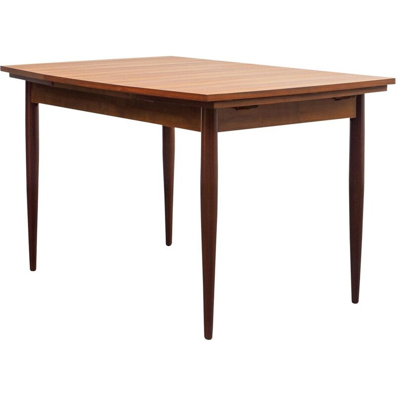 Vintage dining table in teak eliptical shape extendable 1960s
