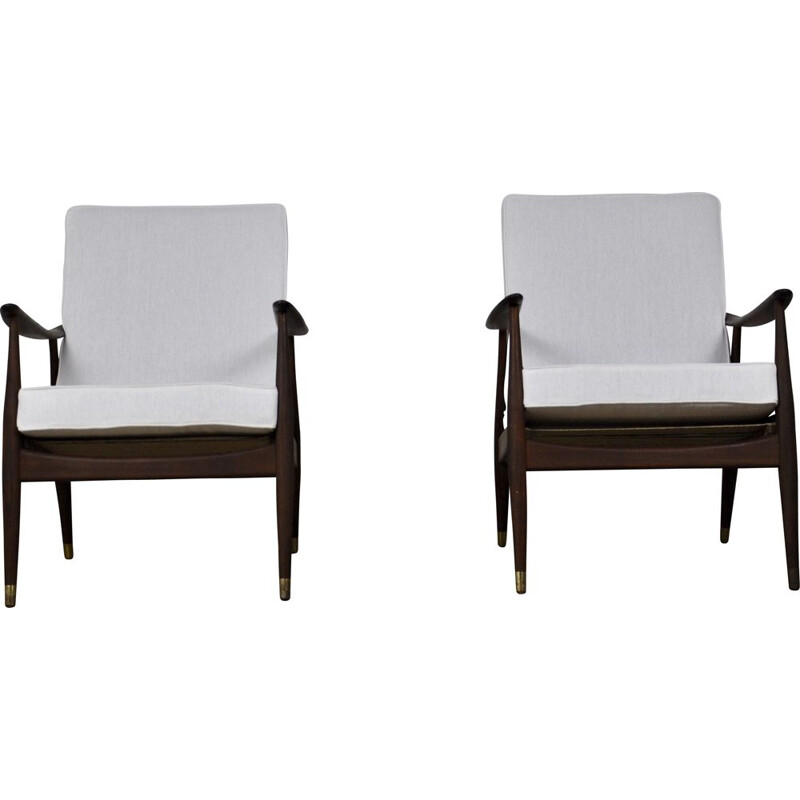 Pair of vintage Danish armchairs in white fabric and wood 1960