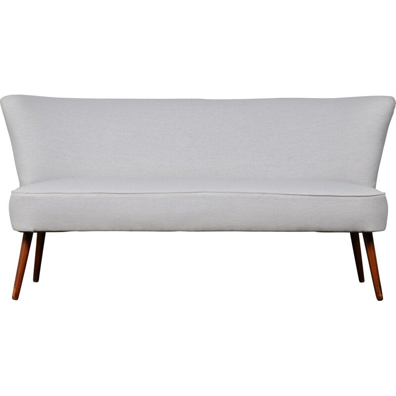 German vintage bench in white fabric and wood 1960