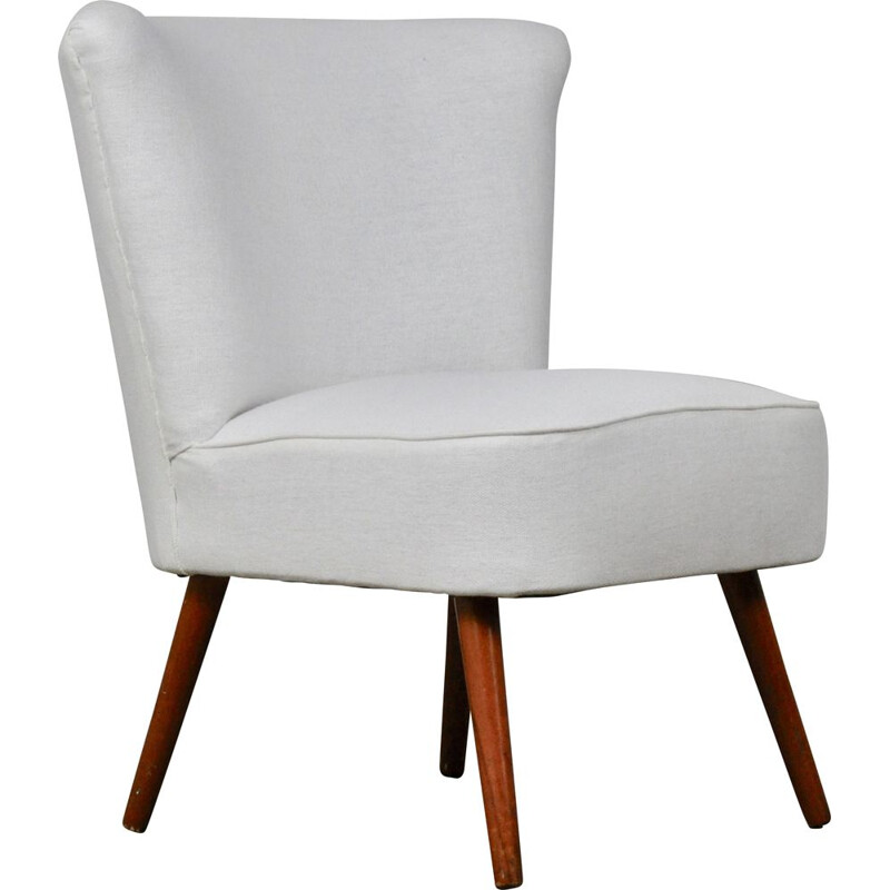 German vintage cocktail armchair in white fabric and wood 1960