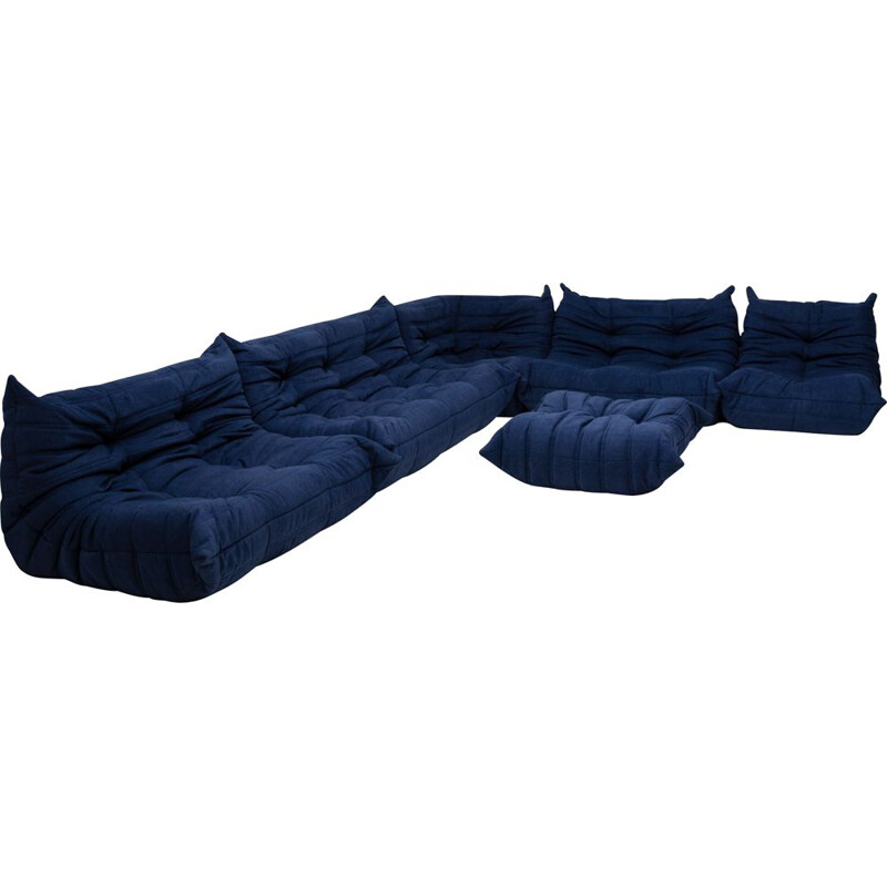 Togo Blue Modular Sofa and Footstool by Michel Ducaroy for Ligne Roset, Set of 6