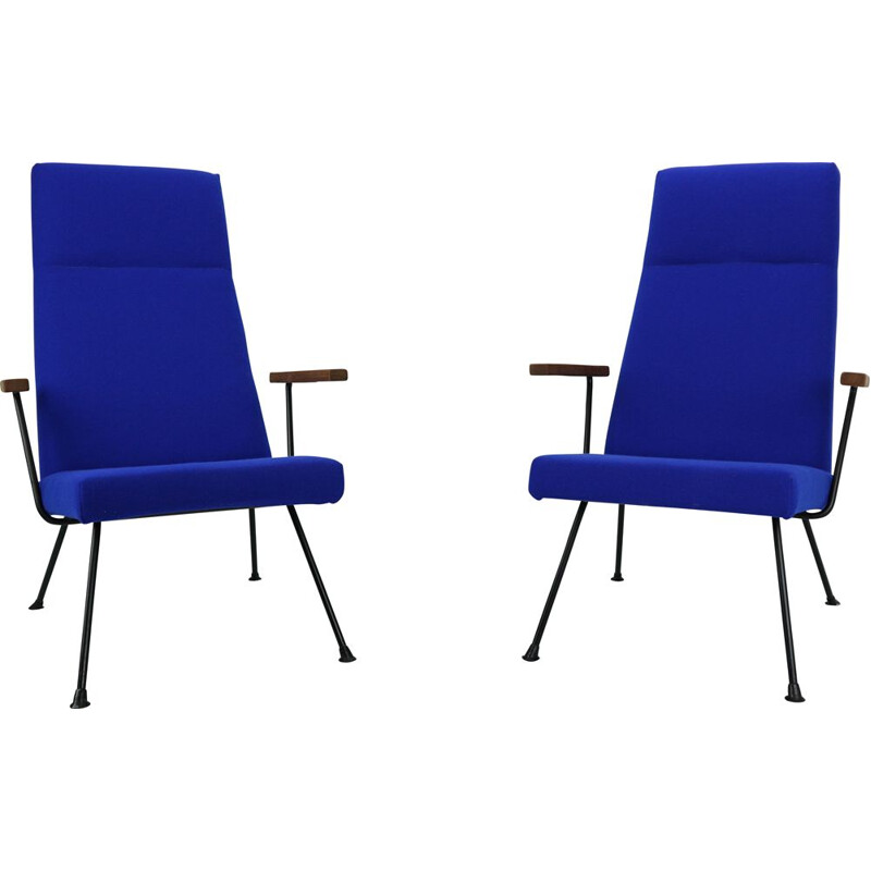 Set of 2 vintage 1410 armchairs for Gispen in blue wool and metal 1960s