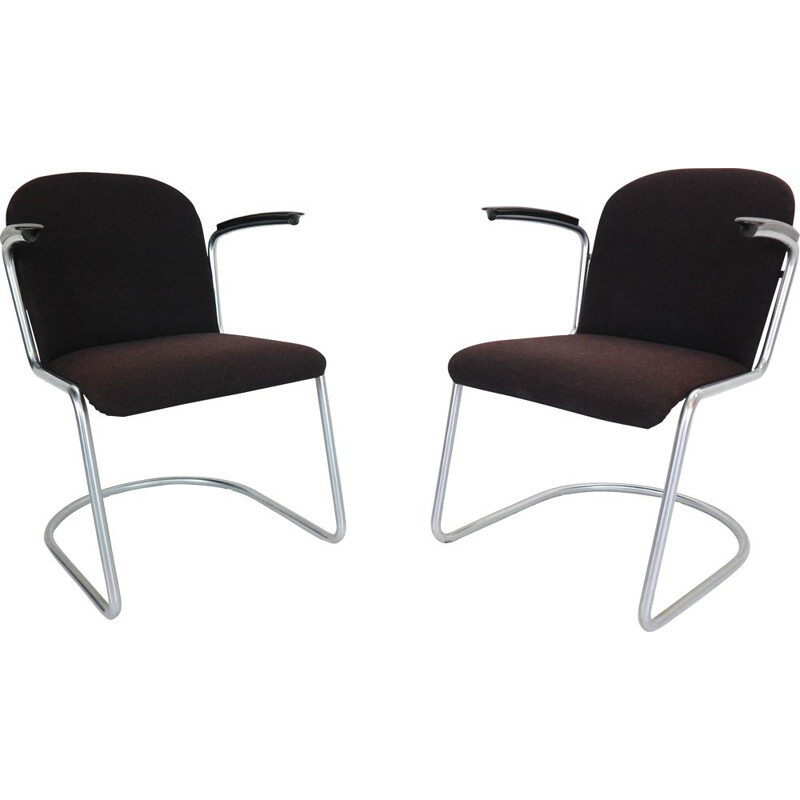 Pair of vintage M-413 armchairs for Gispen in metal and bakelite 1950s