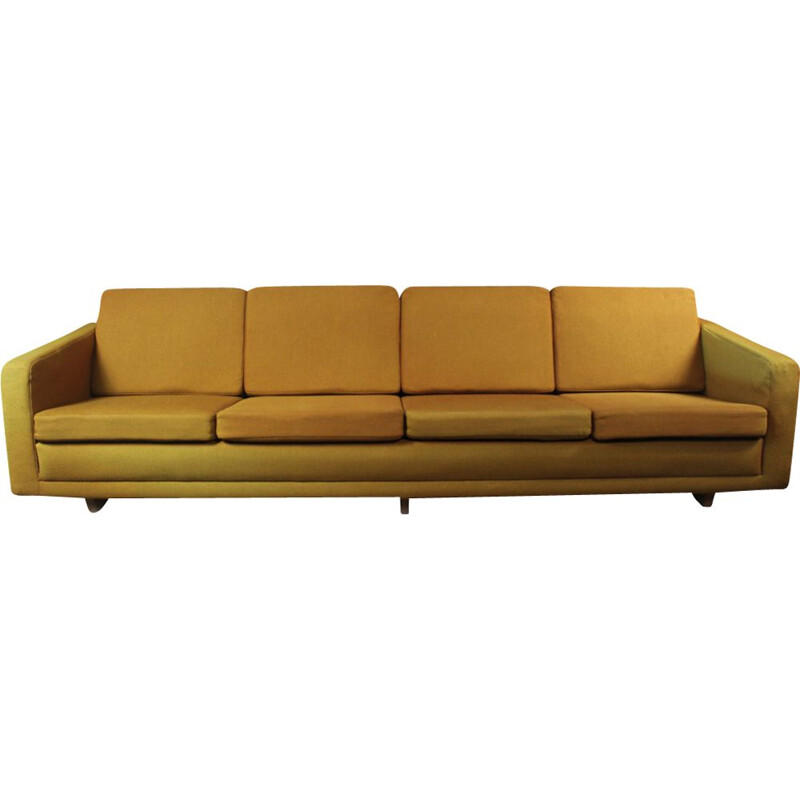 Vintage 205 model sofa for Fredericia in yellow fabric and wood 1950s