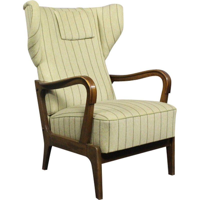Vintage Wing chair in beige fabric