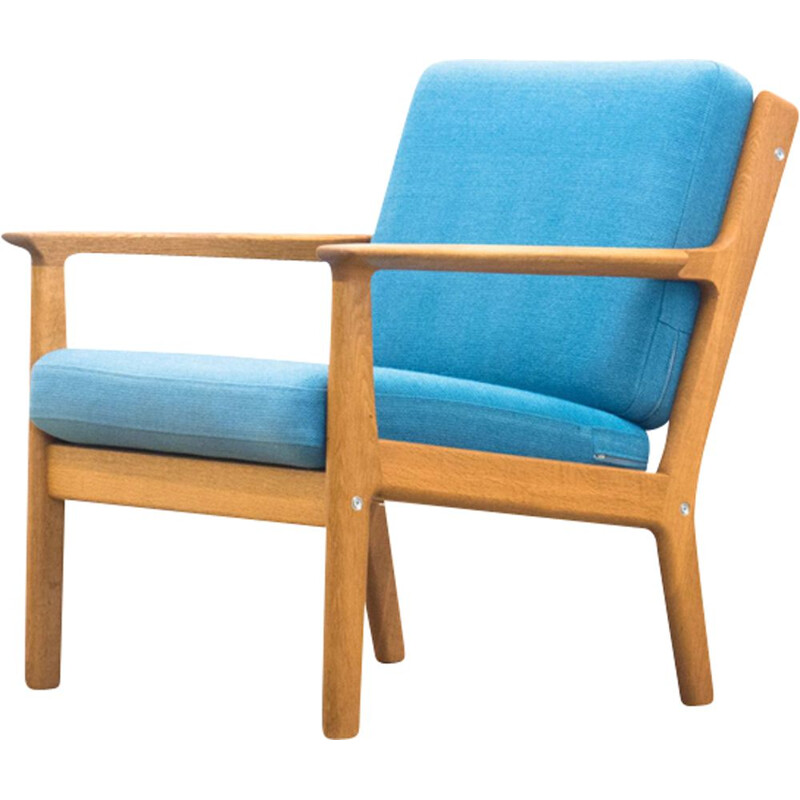 GE-265 blue armchair in oak by Hans J. Wegner for Getama