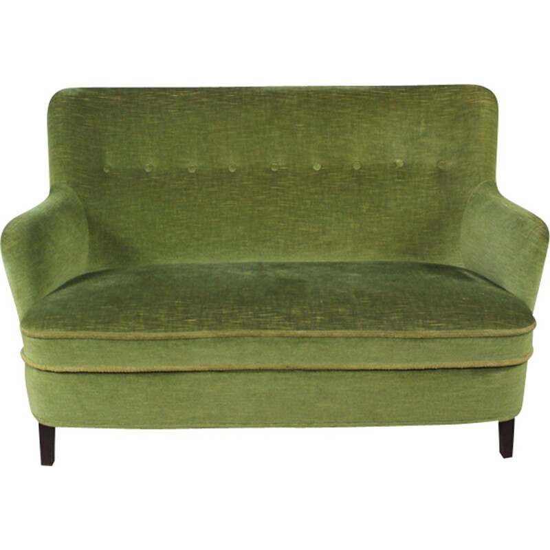 Set of vintage sofa and 2 armchairs in green velvet 1960s
