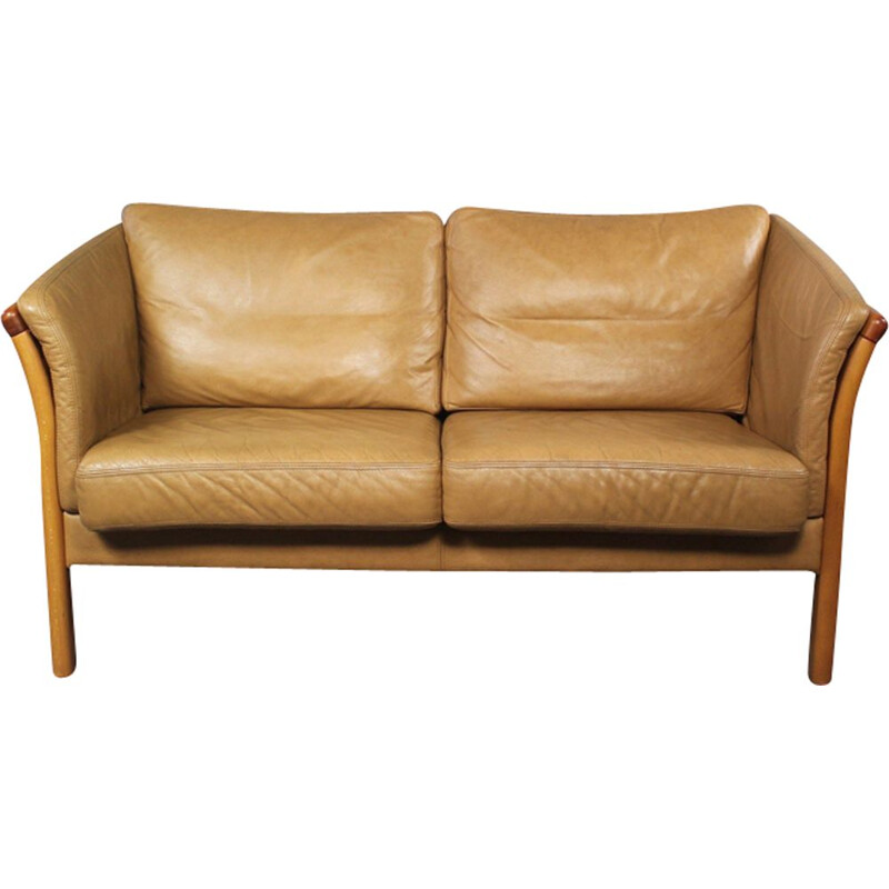 Vintage danish sofa in brown leather and wood 1970s