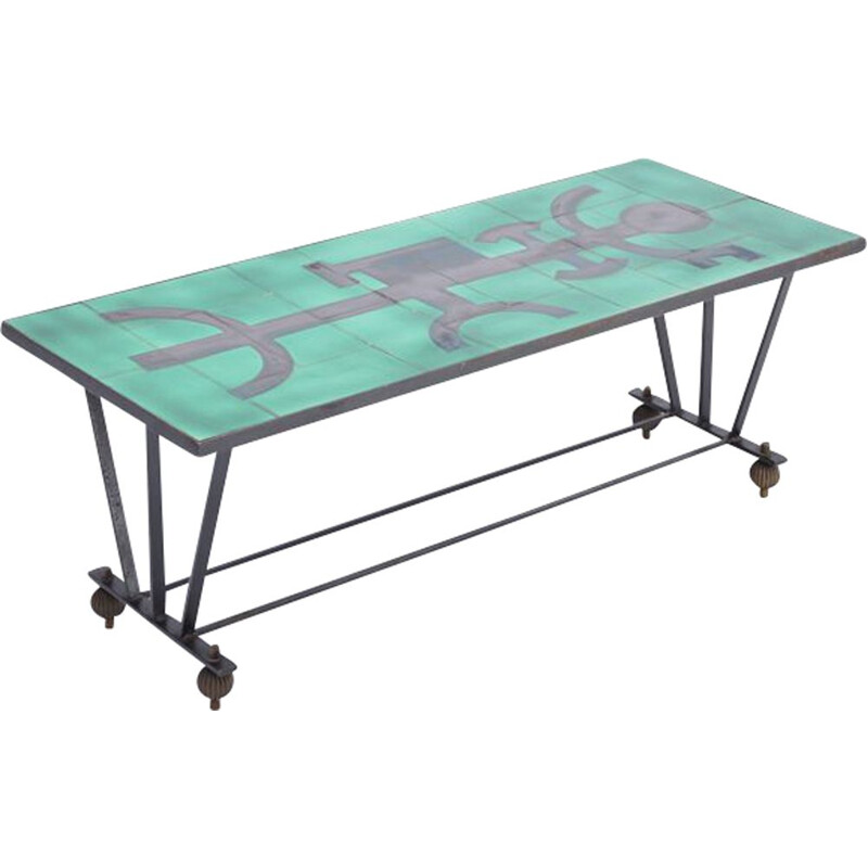 Vintage metal coffee table with enameled green ceramic top 1960s
