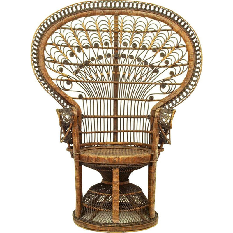 Vintage lounge chair in wicker 1950s