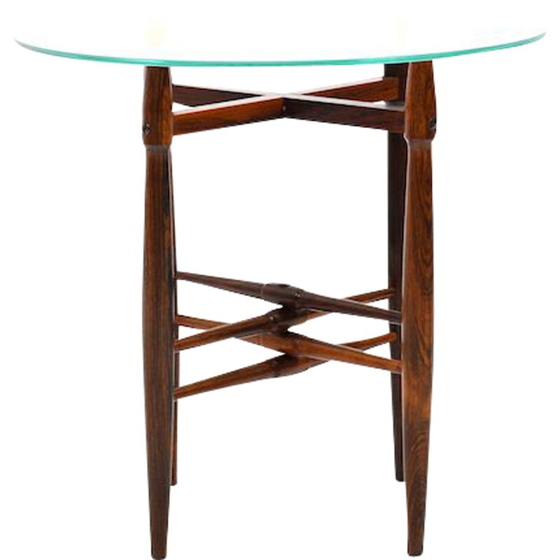 Vintage rosewood and glass side table by Poul Hundevad