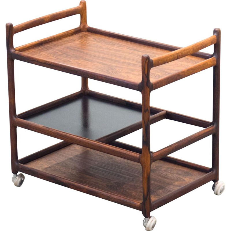 Vintage bar cart in rosewood by Johannes Andersen