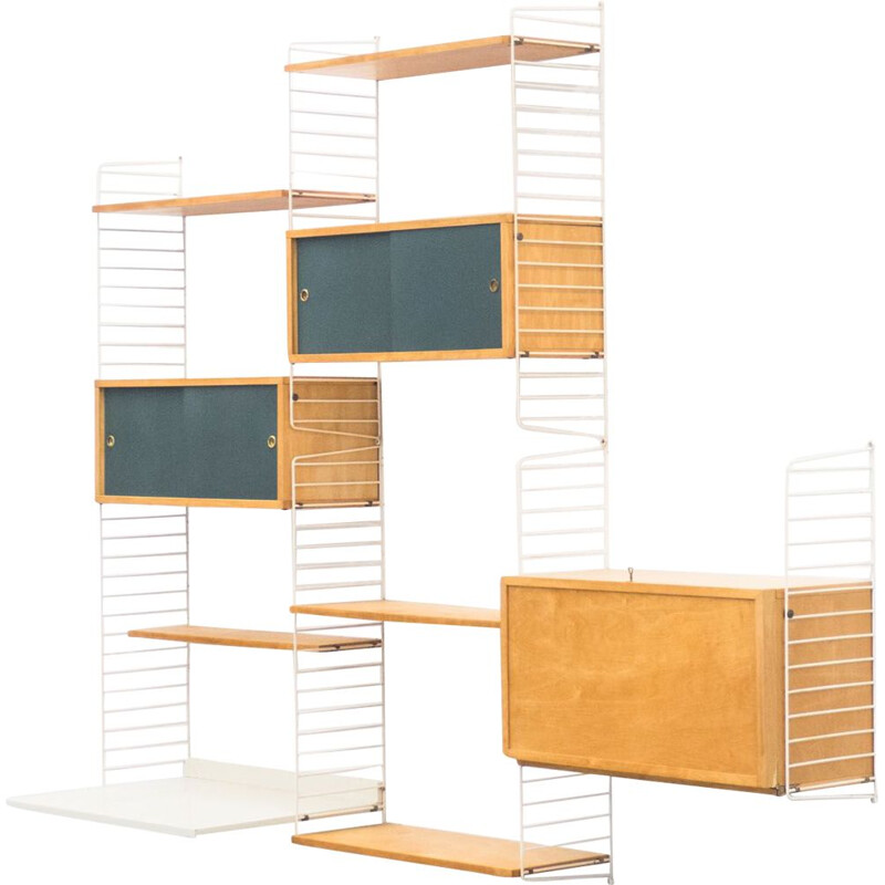 Vintage birch wall unit by Nisse & Kajsa Strinning