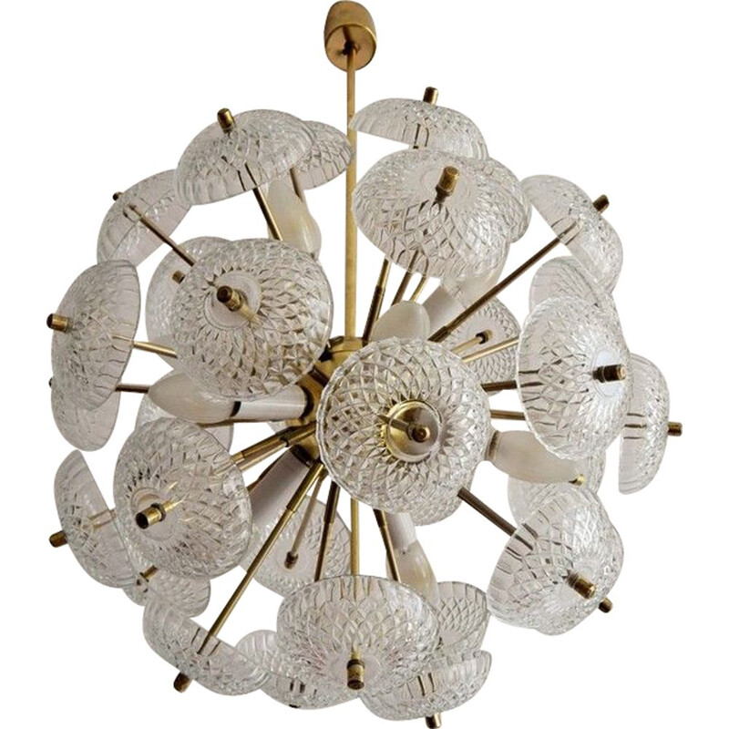 Vintage Sputnik Dandelion chandelier in brass and glass 1970s