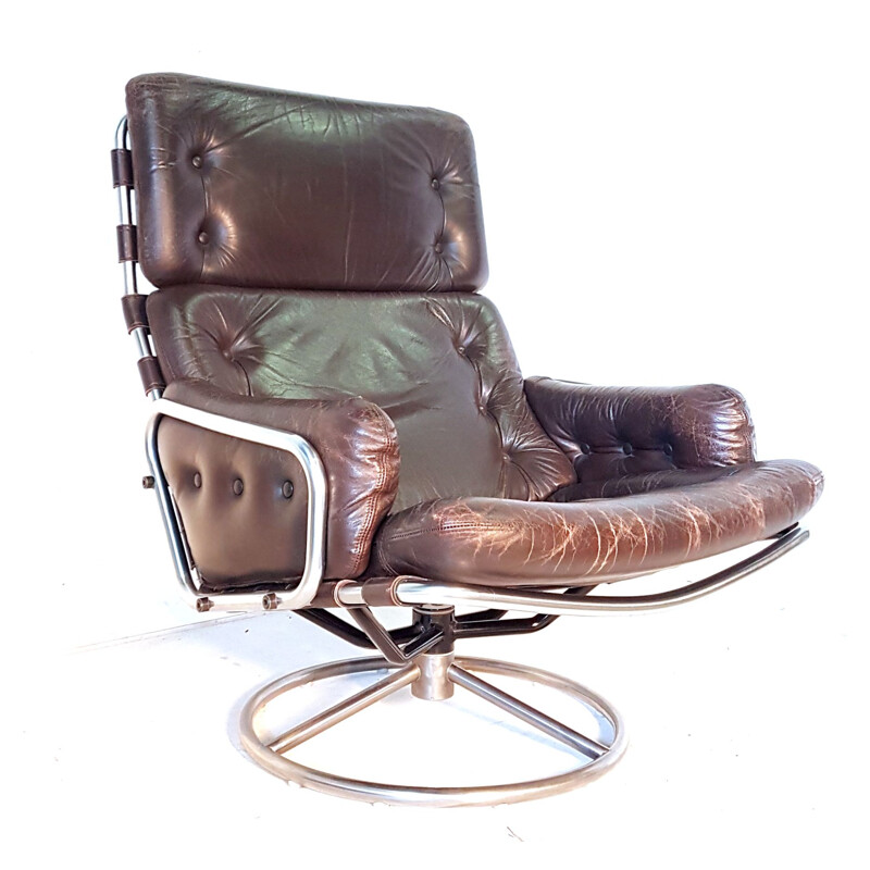 Vintage Tanabe SZ19 swivel chair for t Spectrum in brown leather and metal 1960s