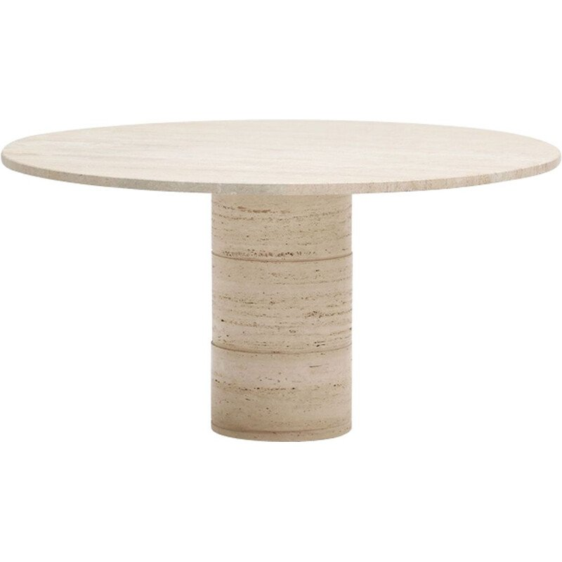 Vintage dining table in travertine round by Up&Up 1970