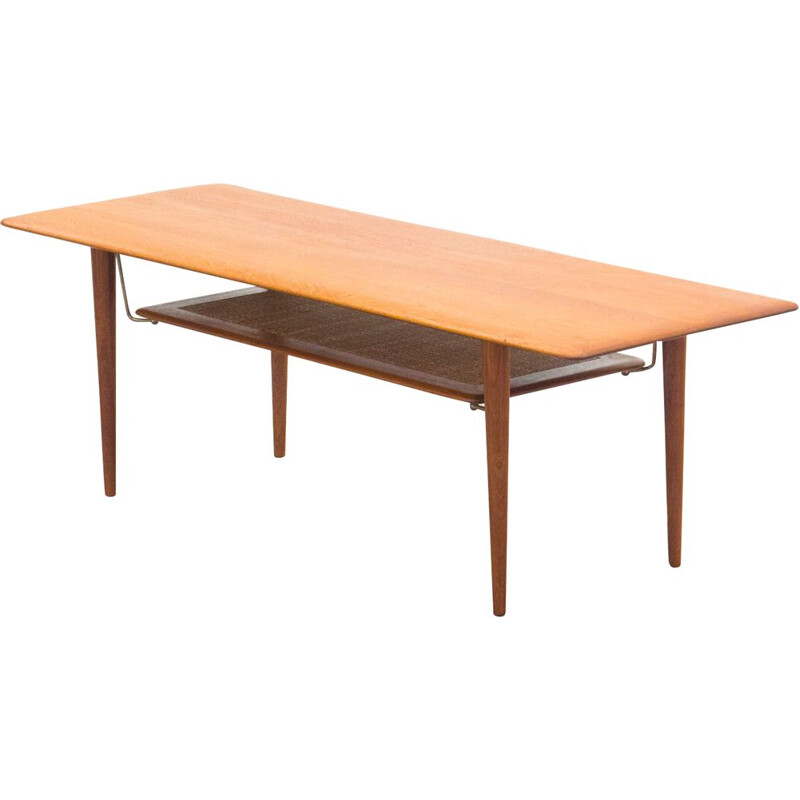 Vintage FD-516 coffee table for France & Son in teakwood and brass 1950s