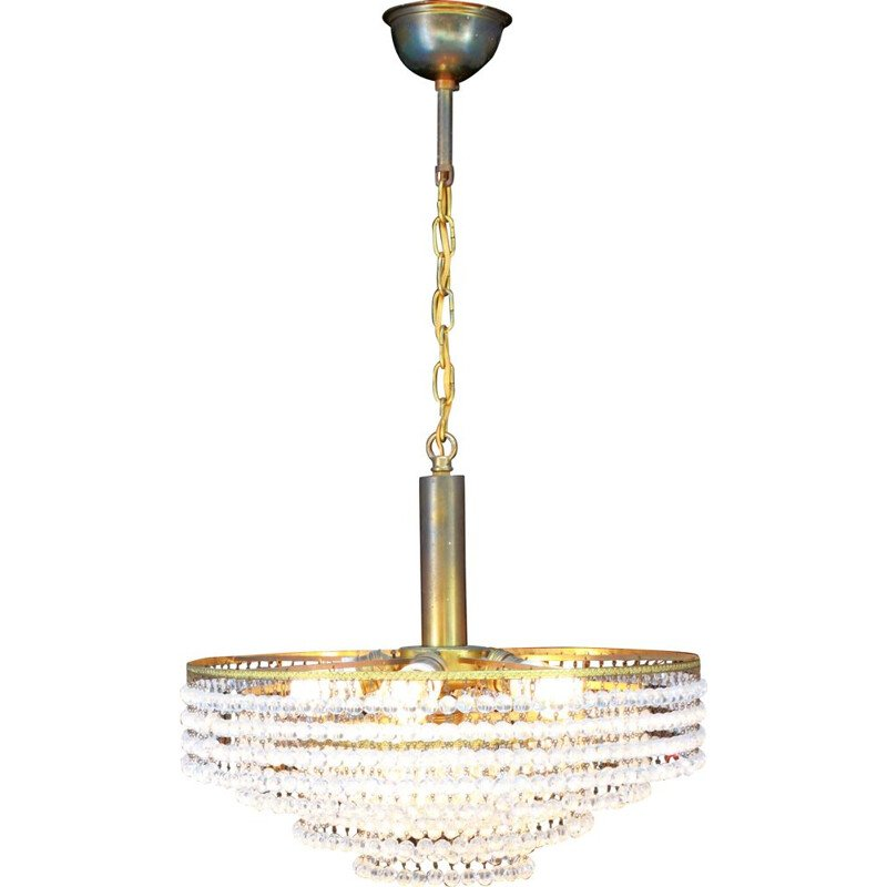Vintage Hollywood Regency crystal and bronze chandelier 1950
