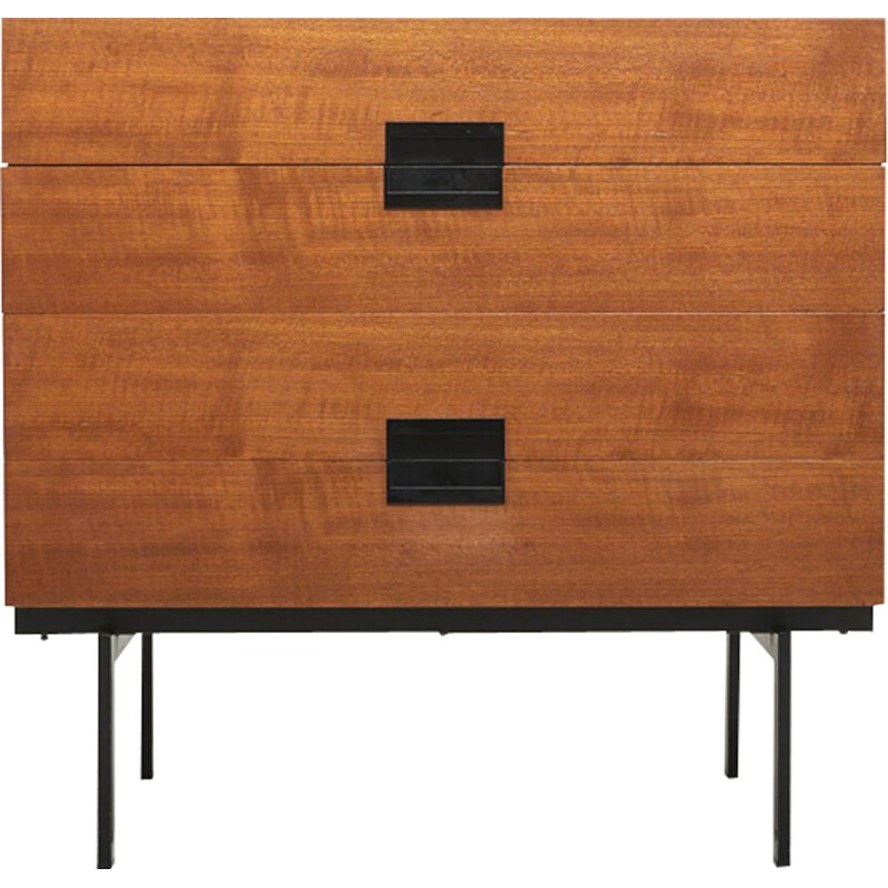 Vintage DU10 chest of drawers for Pastoe in teak and black metal 1950s
