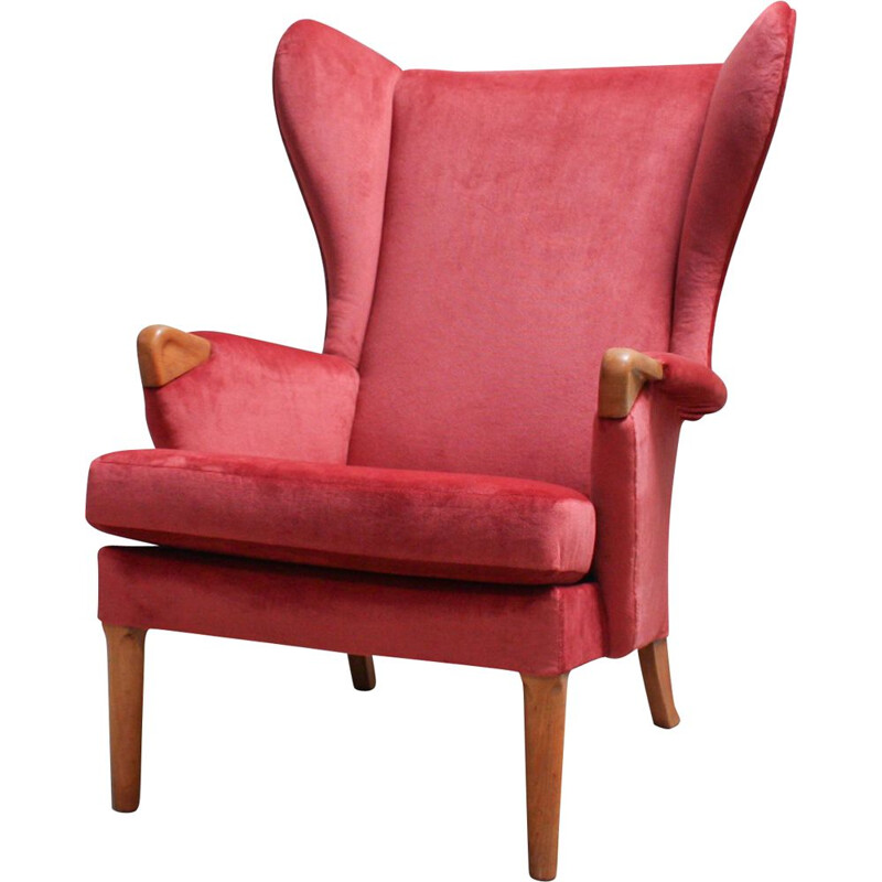 Vintage Wingback armchair for Parker Knoll in oakwood and red velvet 1960s