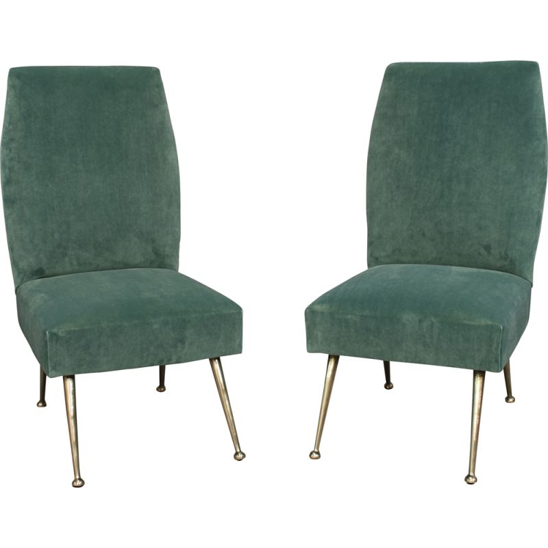Pair of vintage side chairs for Minotti in green velvet and brass 1950s