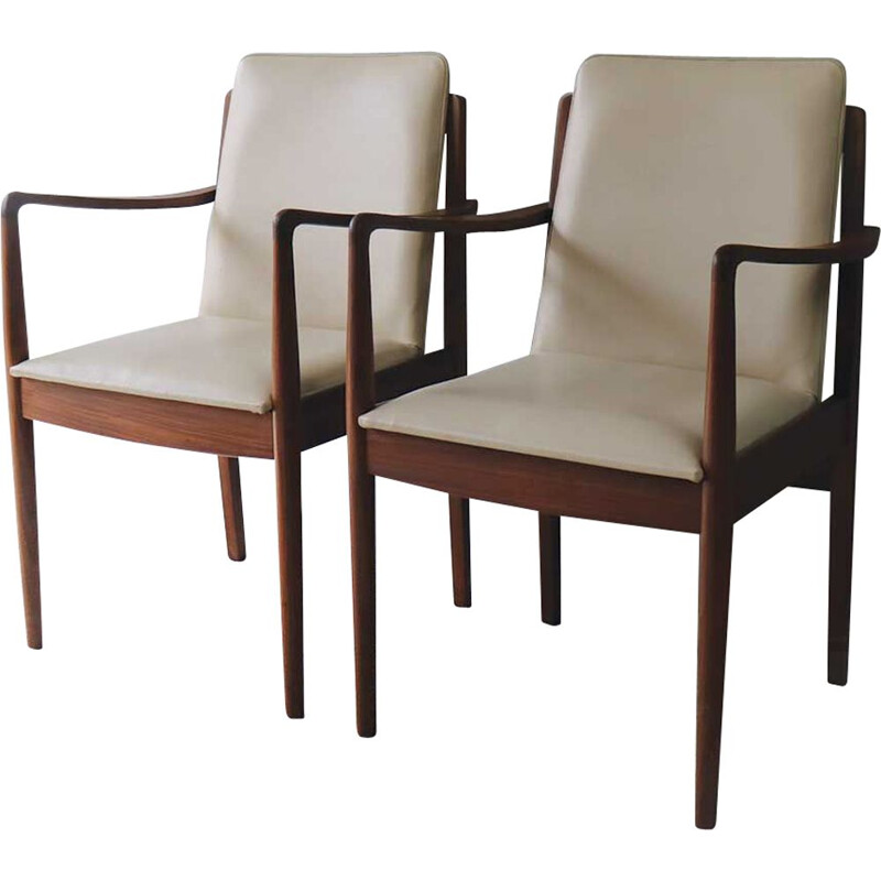 Vintage danish armchairs in teakwood and beige fabric 1960s