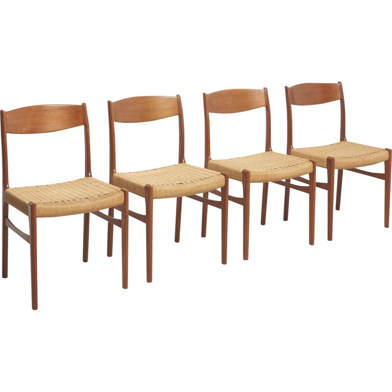 Set of 4 vintage chairs for Glyngore Stolefabrik in teakwood and papercord 1950s