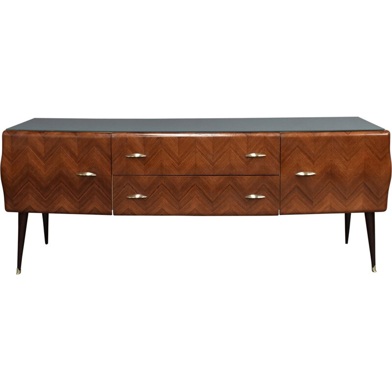 Vintage sideboard for Vittorio Dassi in rosewood and brass 1950s