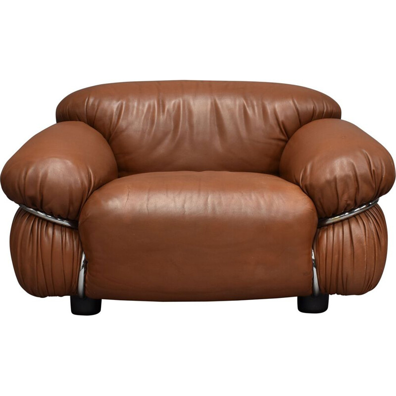 Sesann vintage lounge chair in brown leather by Gianfranco Frattini for Cassina