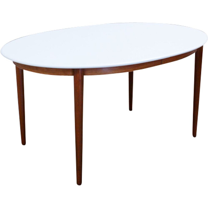 Vintage oval dining table in teak with white top