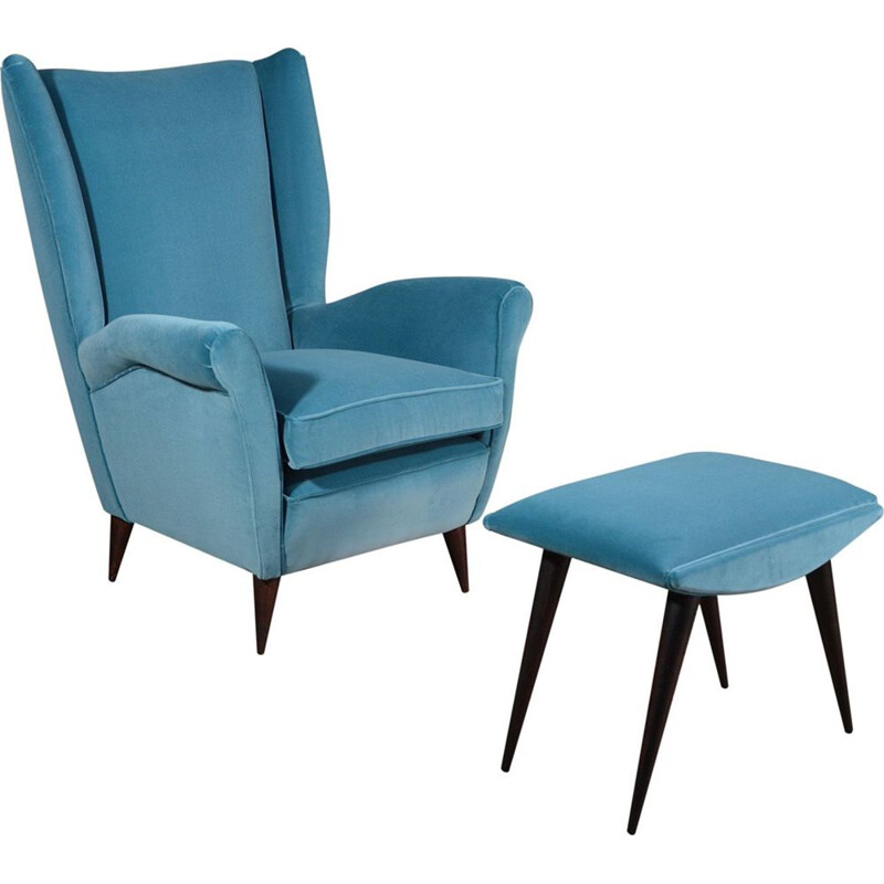 Vintage blue velvet armchair with footrest by Gio Ponti