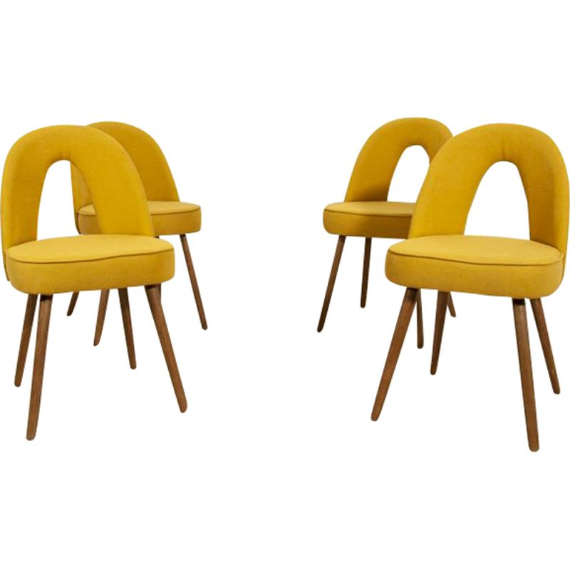 Vintage set of 4 yellow Dining Chairs by Antonín Šuman for Tatra 1960s