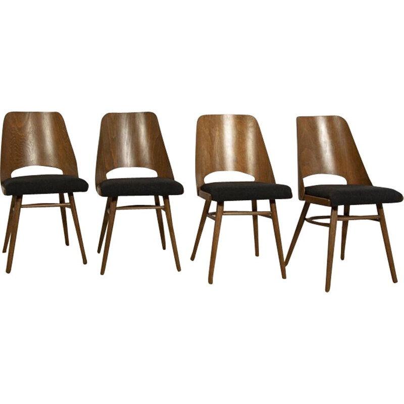 Vintage set of 4 black Lollipop Dining Chairs from Tatra 1960s