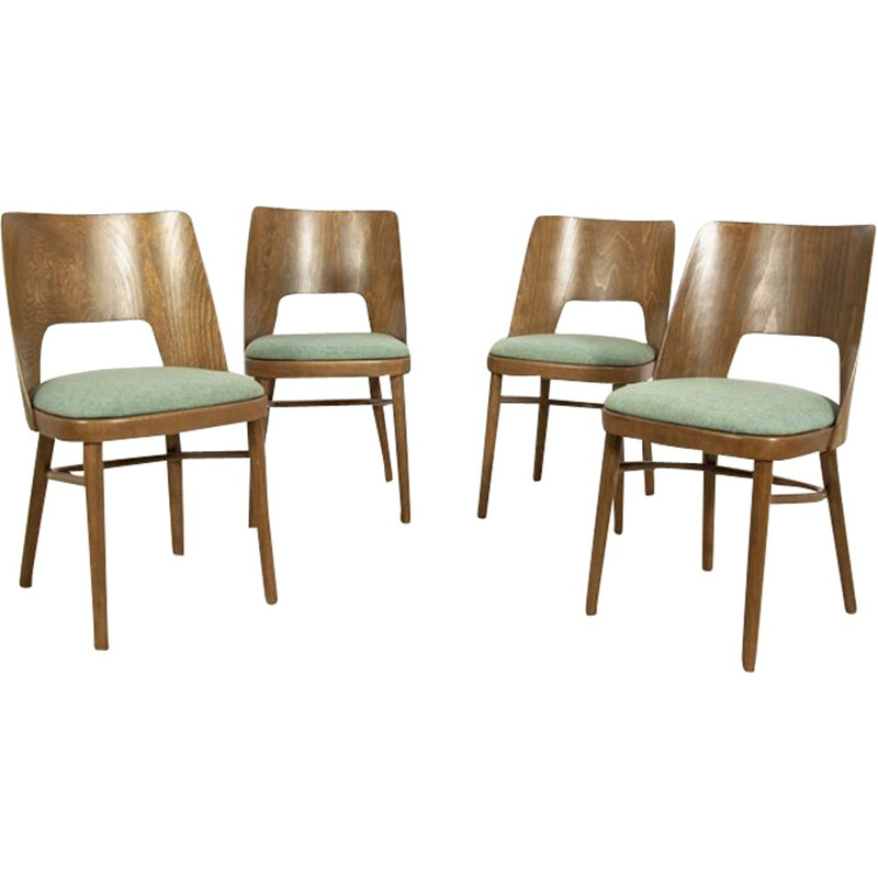 Vintage set of 4 Lollipop Dining Chairs from Tatra 1960s