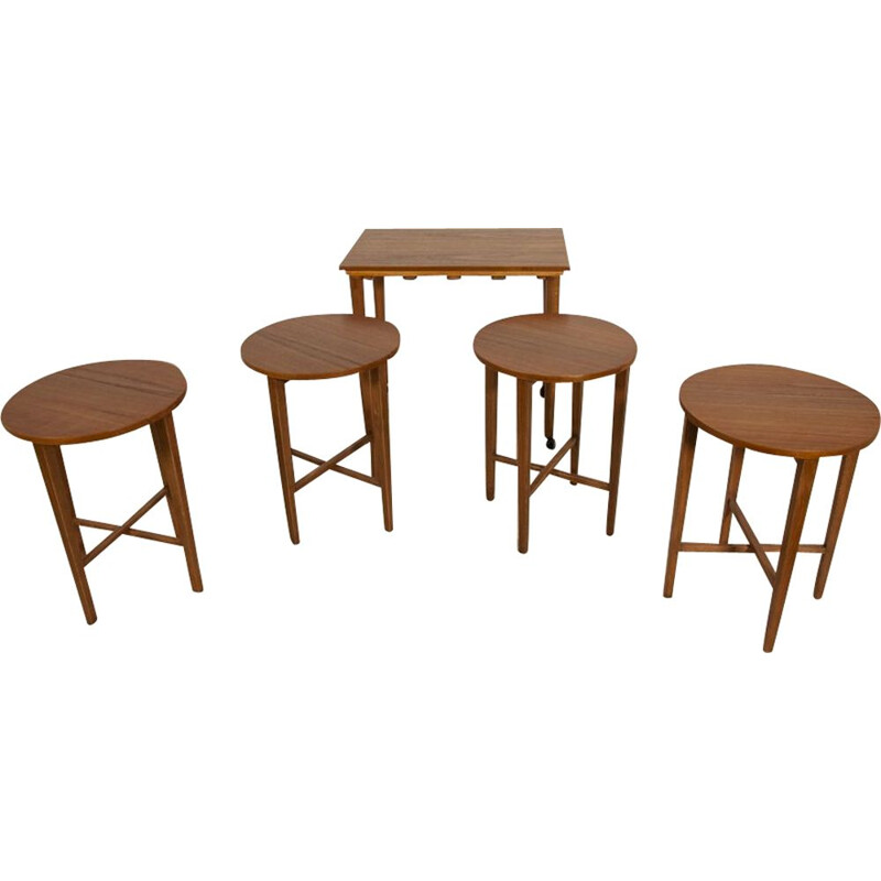 Vintage set of 5 Teak Tables by Poul Hundevad 1960