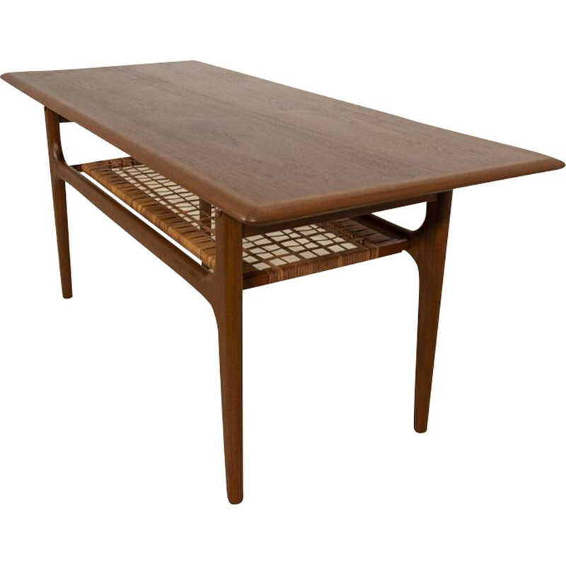 Vintage Teak & Raffia coffee Table 1960s