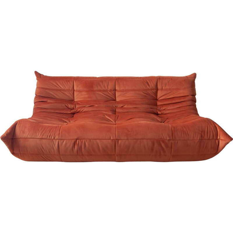 Vintage Togo sofa for Ligne Roset in orange velvet 1970s