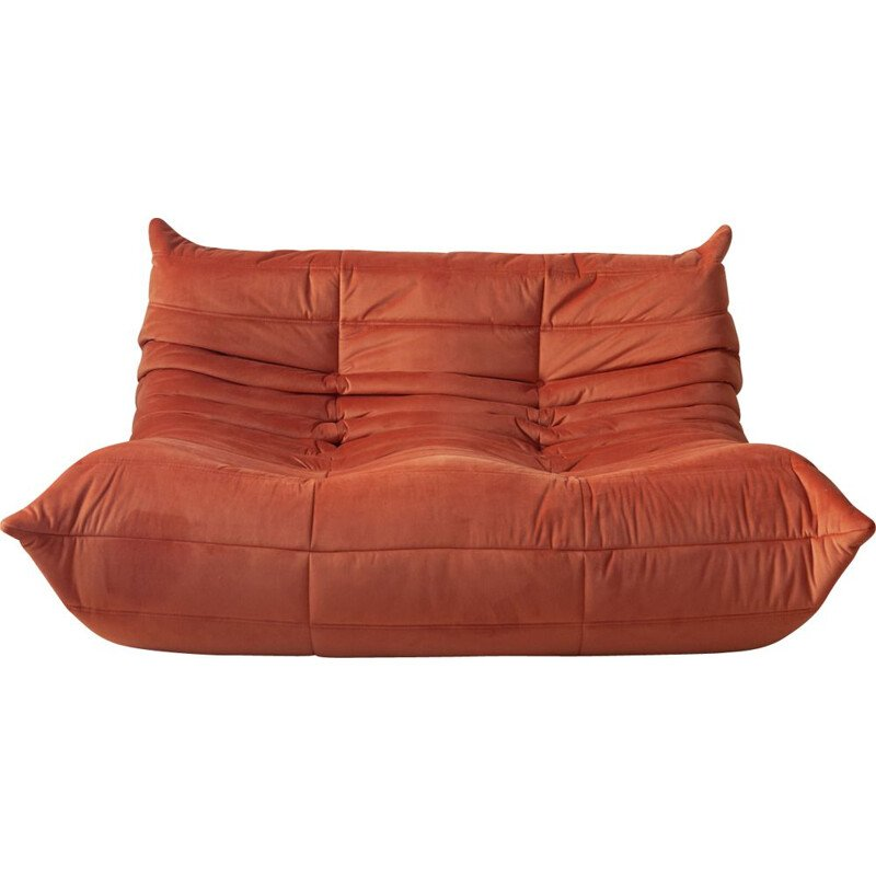 Vintage Togo 2-seater sofa for Ligne Roset in orange velvet 1970s