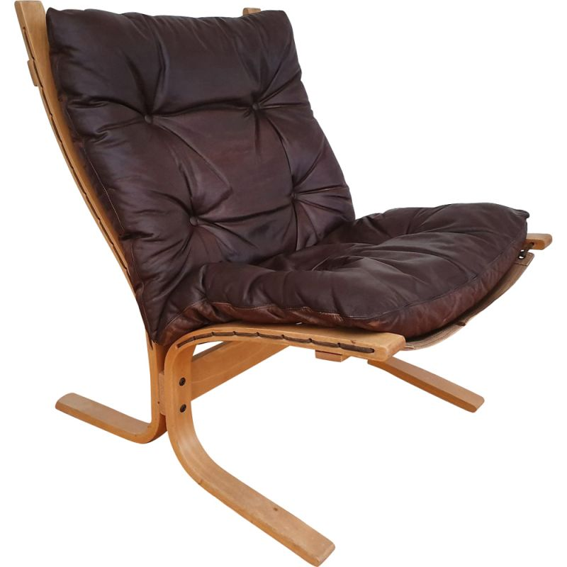 Vintage Siesta lounge chair by Relling in brown leather and beech 1970s