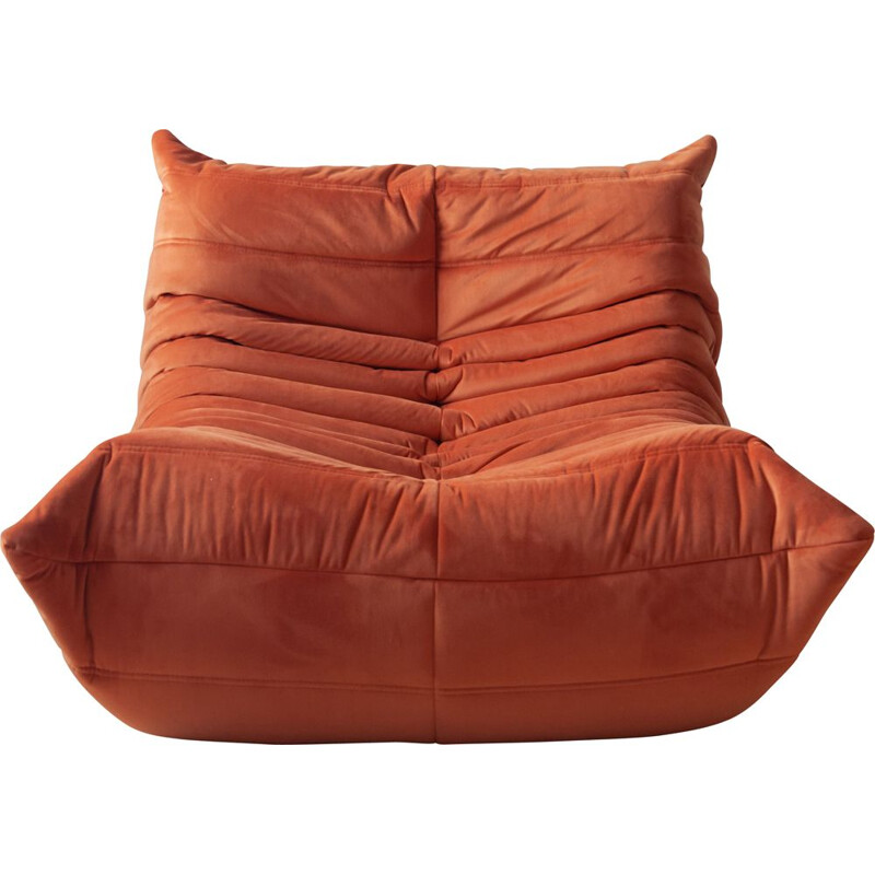 Vintage Togo armchair by Ducaroy for Ligne Roset in orange velvet 1970s