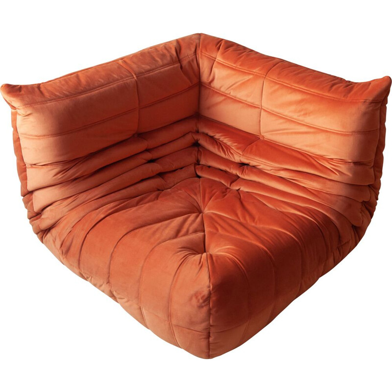 Vintage Togo couch for Ligne Roset in orange velvet 1970s