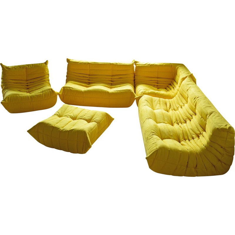 Vintage Togo sofa set for Ligne Roset in yellow microfiber 1970s