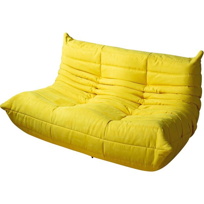 Vintage Togo sofa for Ligne Roset in yellow microfiber 1970s