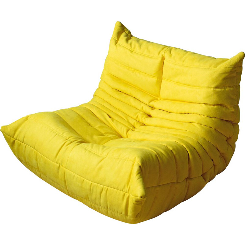 Vintage Togo armchair for Ligne Roset in yellow microfiber 1970s