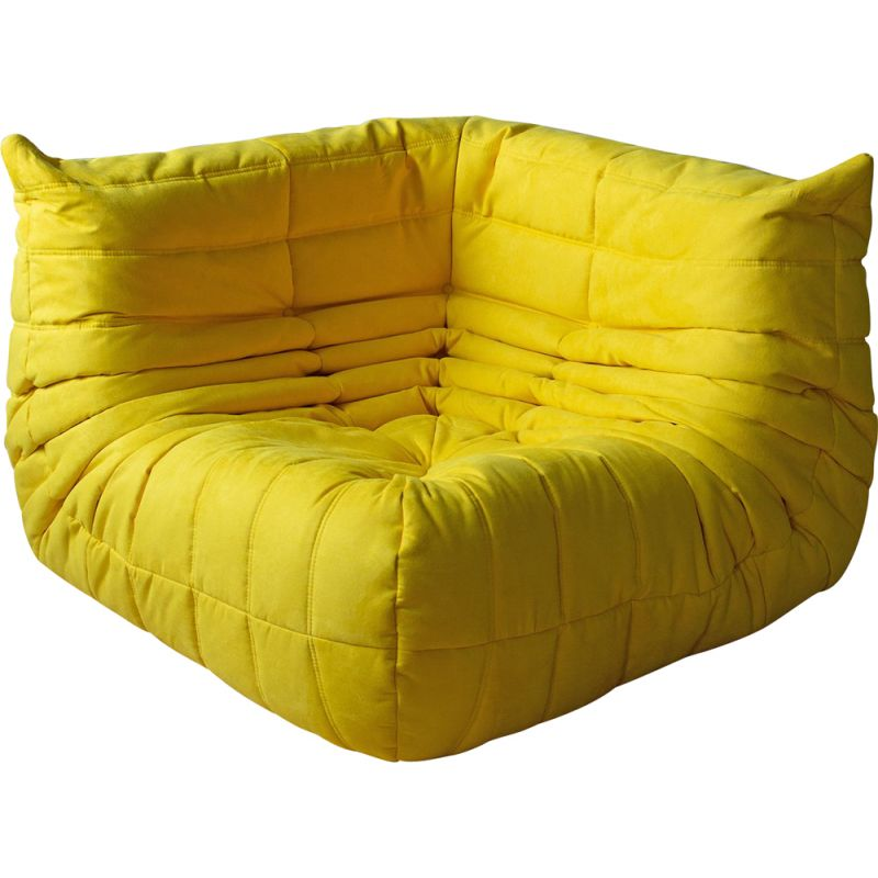 Vintage Togo corner couch for Ligne Roset in yellow microfiber 1970s