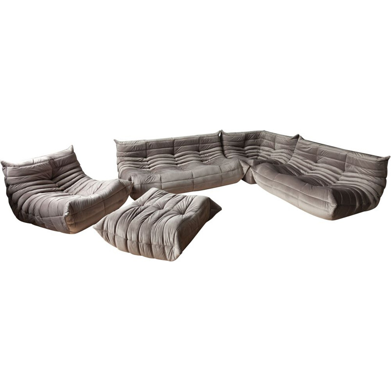 Vintage Togo sofa set for Ligne Roset in grey velvet 1970s
