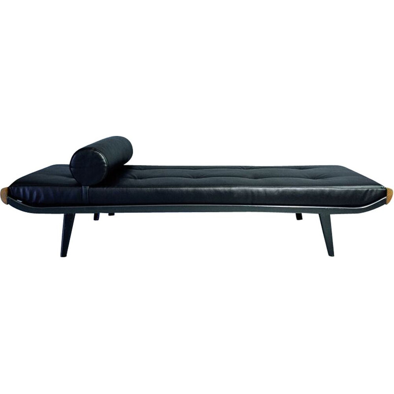 Vintage Cleopatra day bed for Auping in black leatherette and steel 1950s